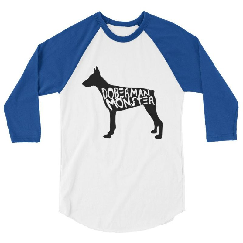 Doberman Monster - Baseball Shirt White/royal / Xs