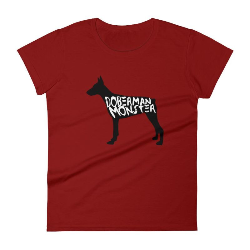 Doberman Monster - Womens Short Sleeve T-Shirt Independence Red / S