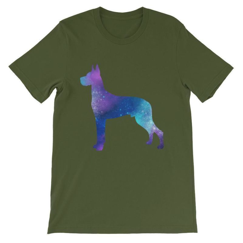Great Dane Galaxy Design - Unisex Short Sleeve T-Shirt Olive / S