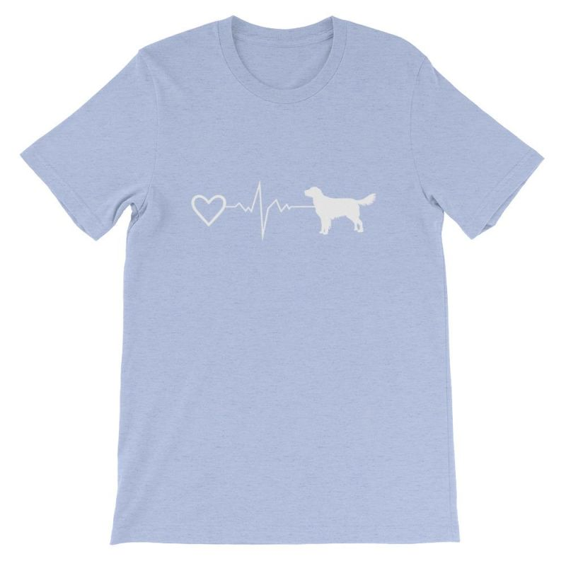 Nova Scotia Duck Tolling Retriever - Heartbeat Short-Sleeve Unisex T-Shirt Heather Blue / S