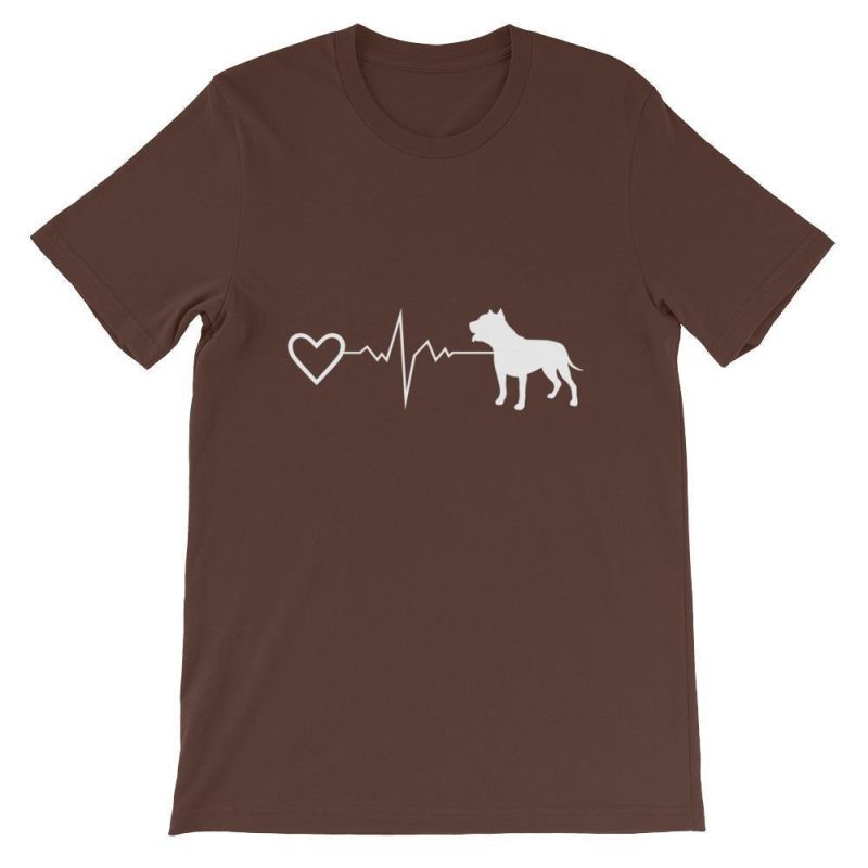 Pit Bull Heartbeat - Short-Sleeve Unisex T-Shirt Brown / S