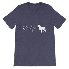 Pit Bull Heartbeat - Short-Sleeve Unisex T-Shirt Heather Midnight Navy / S