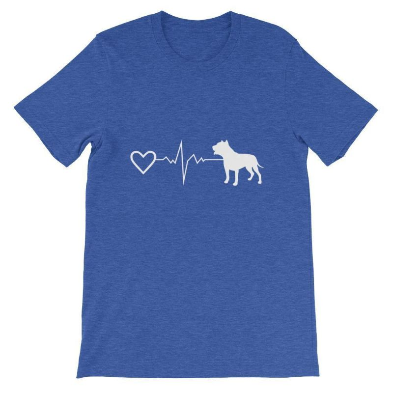 Pit Bull Heartbeat - Short-Sleeve Unisex T-Shirt Heather True Royal / S