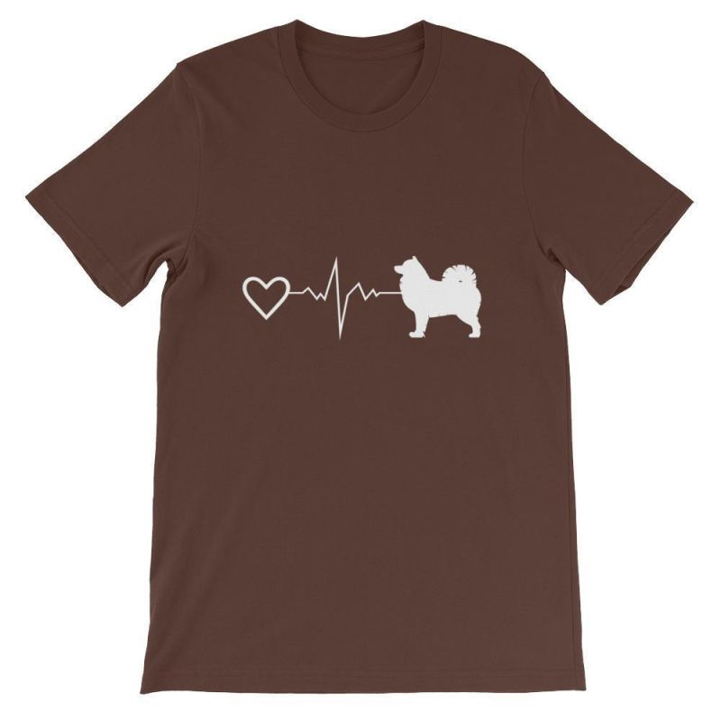 Pomsky Heartbeat - Short-Sleeve Unisex T-Shirt Brown / S