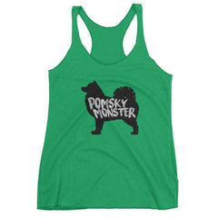Pomsky Monster - Women's Racerback Tank Envy / Xs