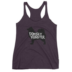 Pomsky Monster - Women's Racerback Tank Vintage Purple / Xs