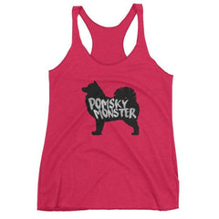 Pomsky Monster - Women's Racerback Tank Vintage Shocking Pink / Xs