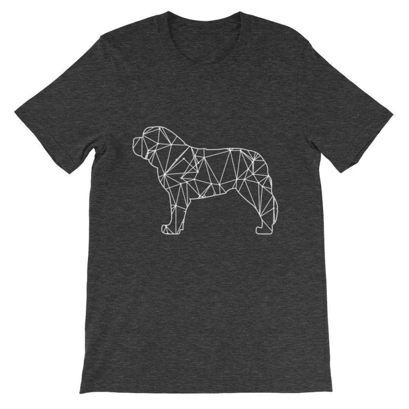 Saint Bernard Geometric Design - Unisex Short Sleeve T-Shirt Dark Grey Heather / S