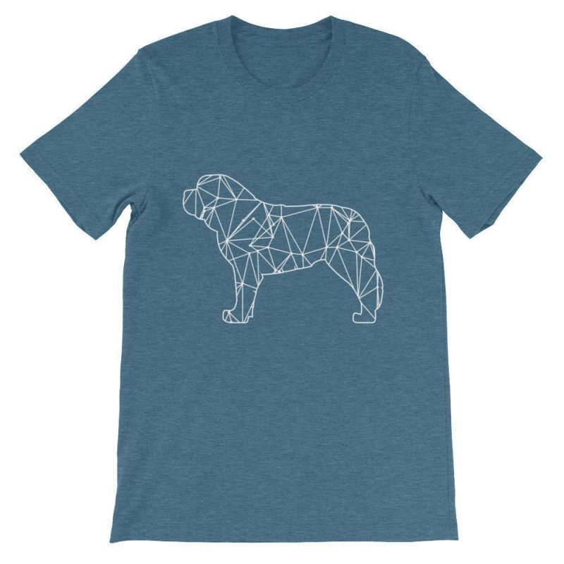 Saint Bernard Geometric Design - Unisex Short Sleeve T-Shirt Heather Deep Teal / S