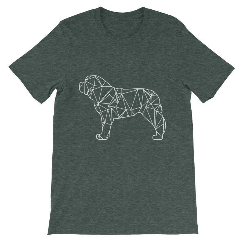 Saint Bernard Geometric Design - Unisex Short Sleeve T-Shirt Heather Forest / S