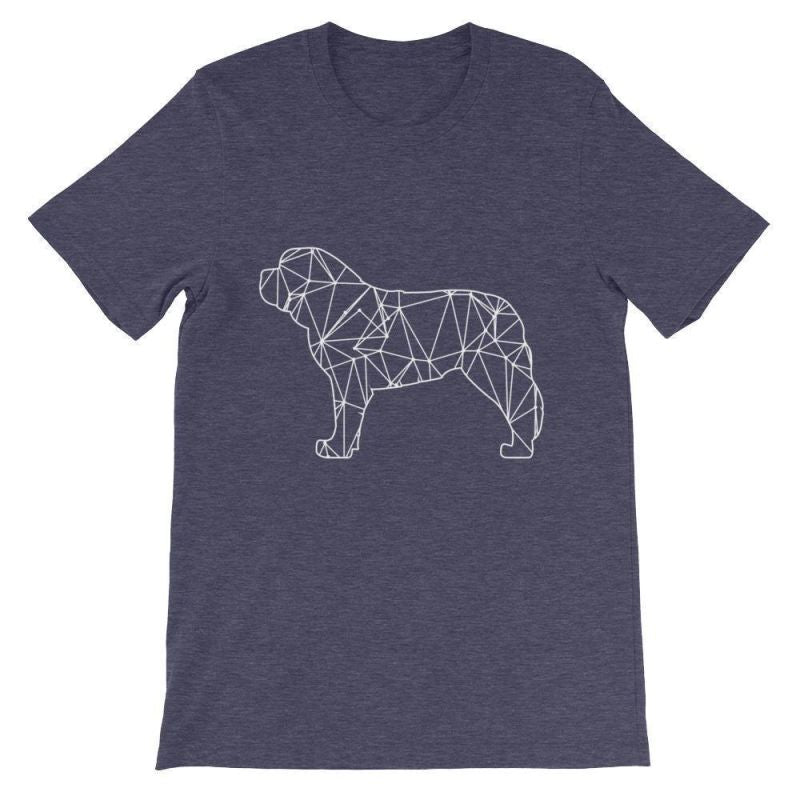 Saint Bernard Geometric Design - Unisex Short Sleeve T-Shirt Heather Midnight Navy / S
