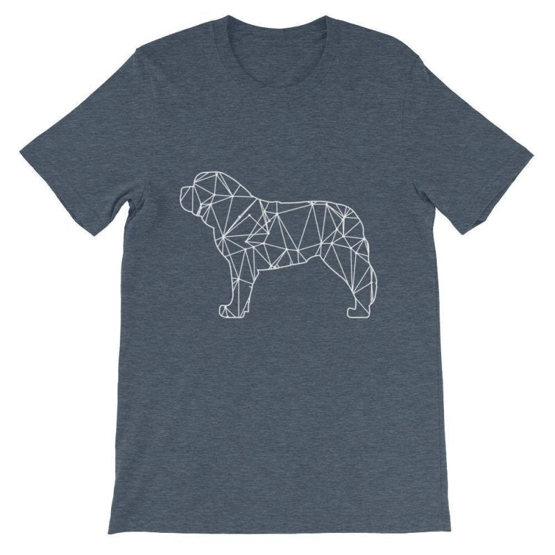 Saint Bernard Geometric Design - Unisex Short Sleeve T-Shirt Heather Navy / S
