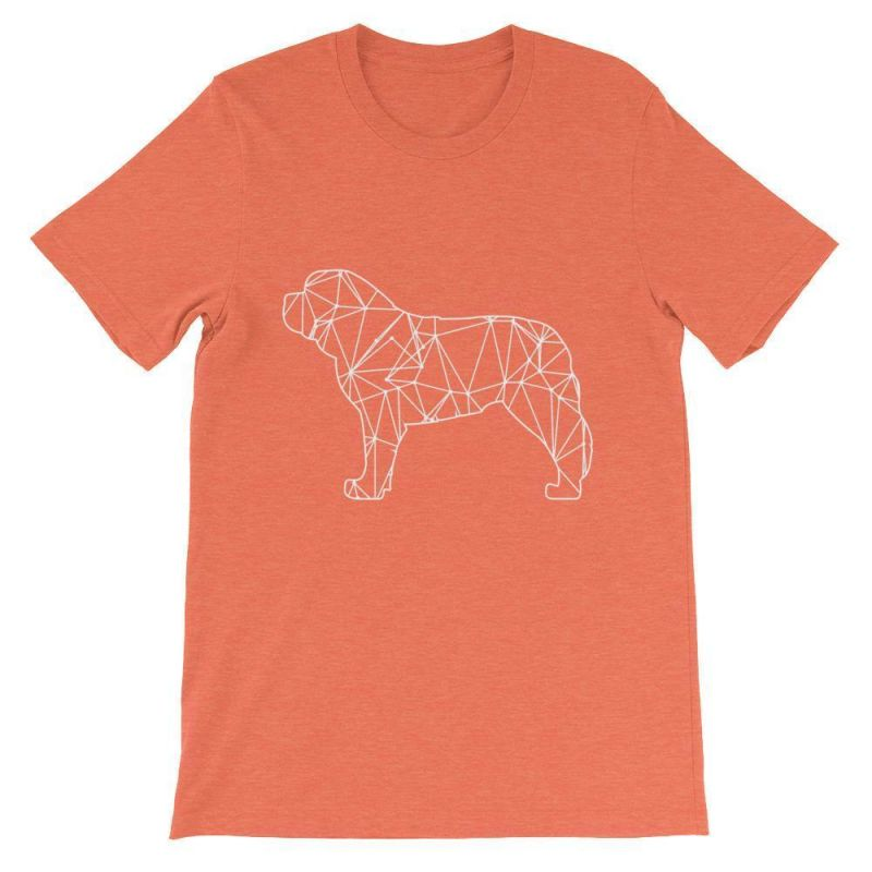 Saint Bernard Geometric Design - Unisex Short Sleeve T-Shirt Heather Orange / S