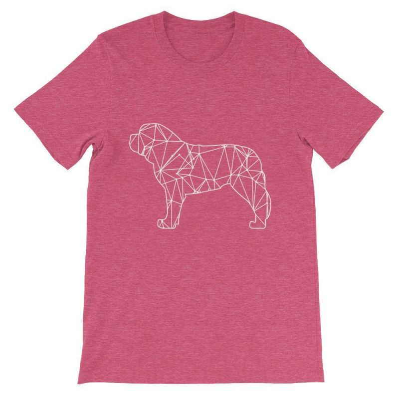 Saint Bernard Geometric Design - Unisex Short Sleeve T-Shirt Heather Raspberry / S