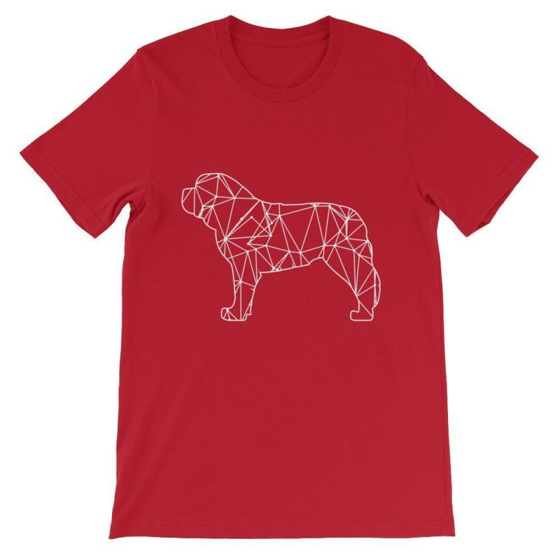 Saint Bernard Geometric Design - Unisex Short Sleeve T-Shirt Red / S
