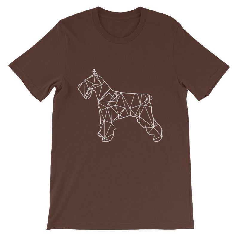 Schnauzer Geometric Design - Unisex Short Sleeve T-Shirt Brown / S