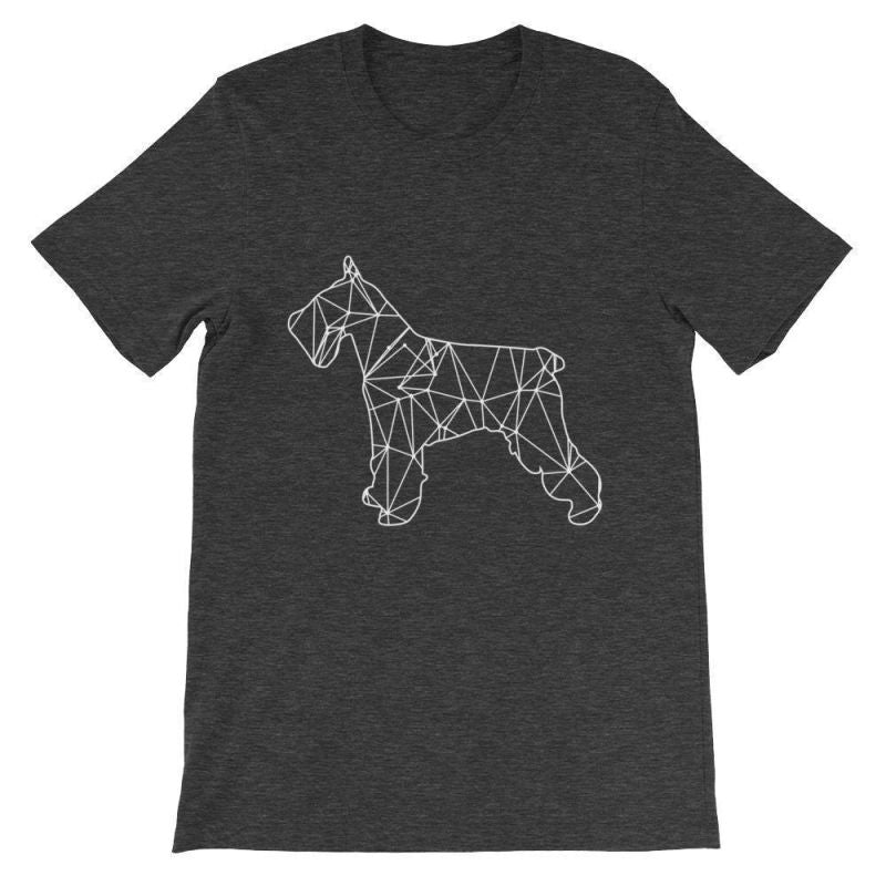 Schnauzer Geometric Design - Unisex Short Sleeve T-Shirt Dark Grey Heather / S