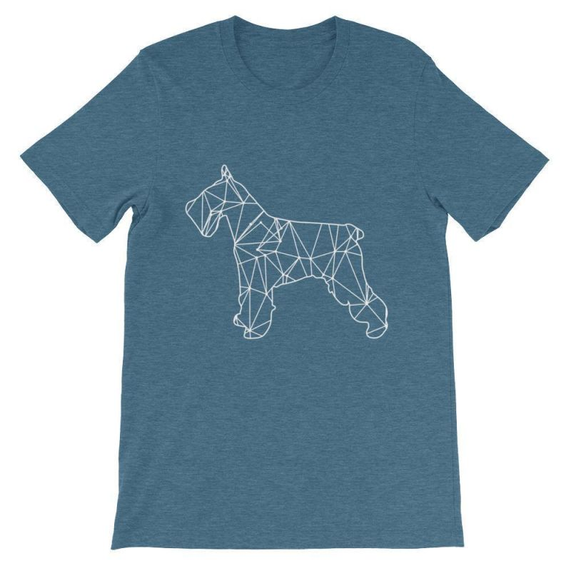 Schnauzer Geometric Design - Unisex Short Sleeve T-Shirt Heather Deep Teal / S