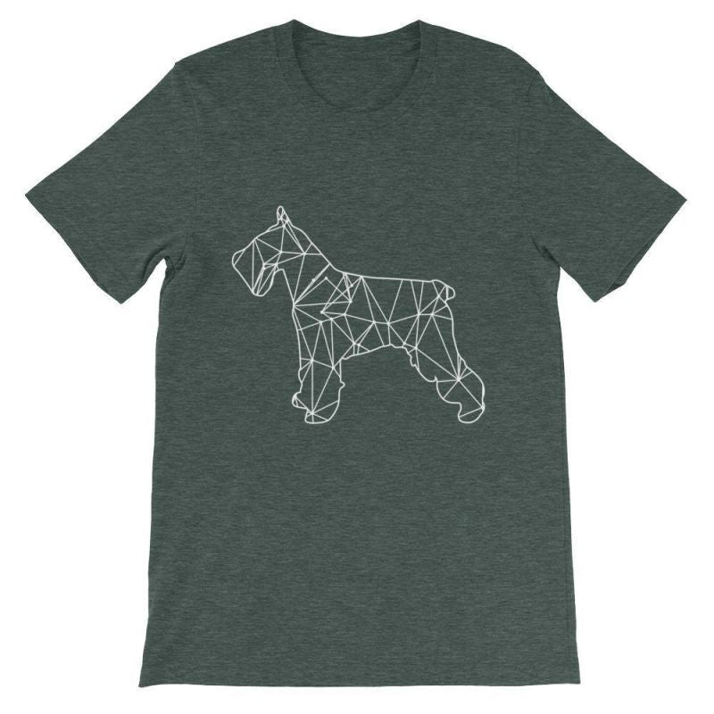 Schnauzer Geometric Design - Unisex Short Sleeve T-Shirt Heather Forest / S