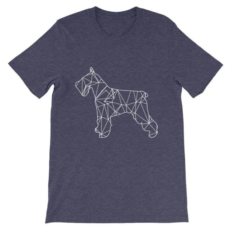 Schnauzer Geometric Design - Unisex Short Sleeve T-Shirt Heather Midnight Navy / S