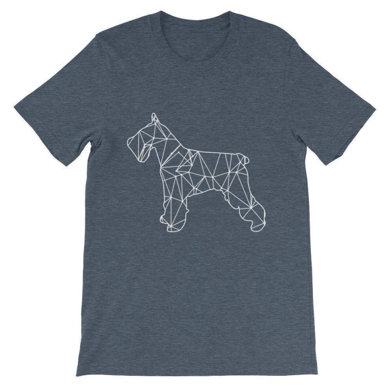 Schnauzer Geometric Design - Unisex Short Sleeve T-Shirt Heather Navy / S