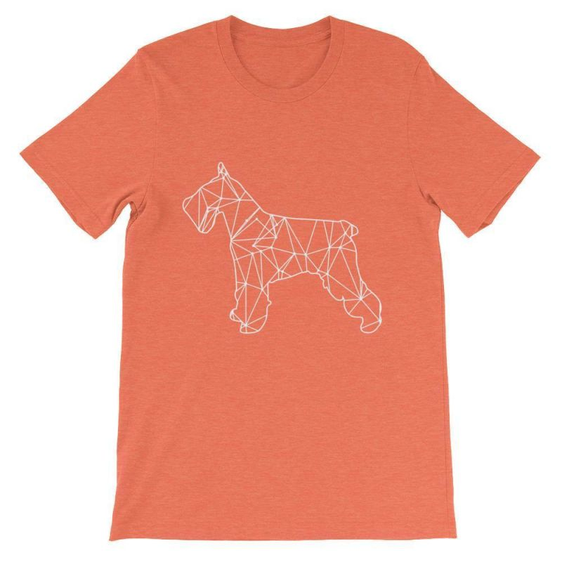 Schnauzer Geometric Design - Unisex Short Sleeve T-Shirt Heather Orange / S