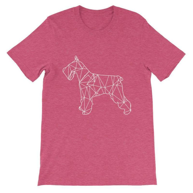 Schnauzer Geometric Design - Unisex Short Sleeve T-Shirt Heather Raspberry / S