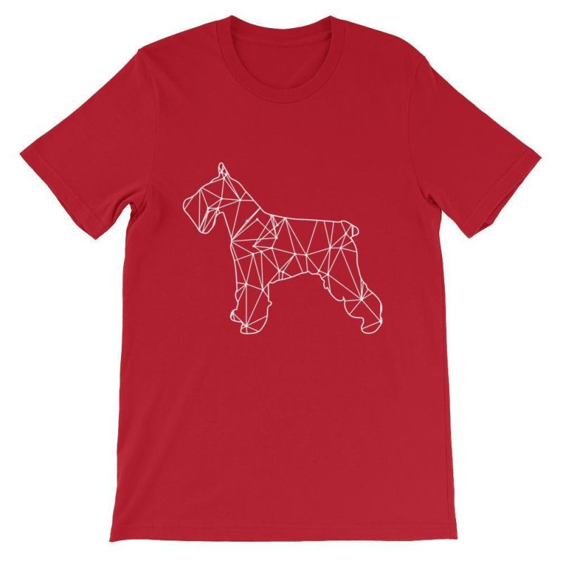 Schnauzer Geometric Design - Unisex Short Sleeve T-Shirt Red / S