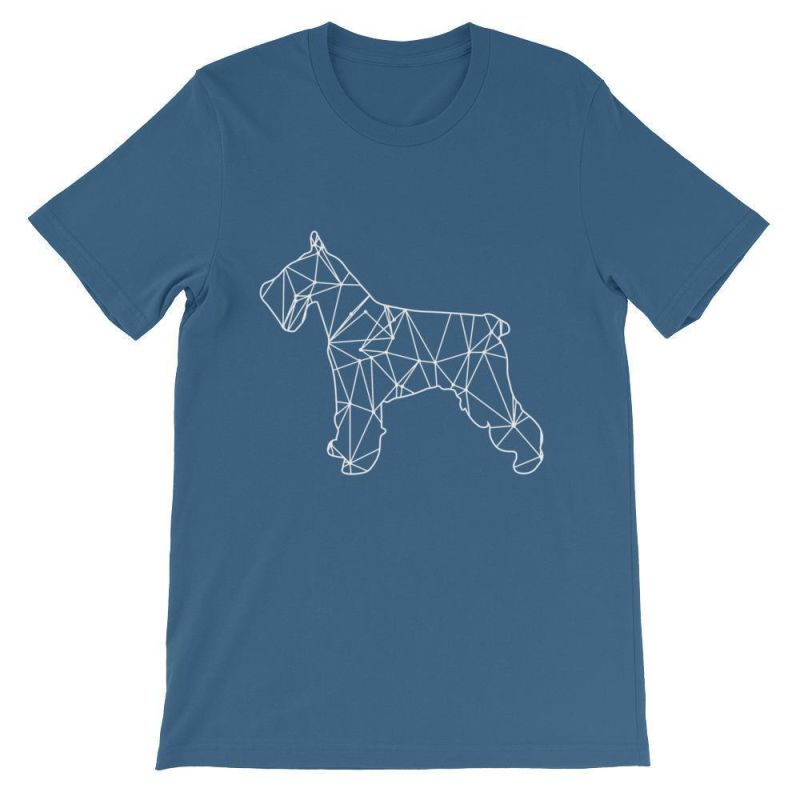 Schnauzer Geometric Design - Unisex Short Sleeve T-Shirt Steel Blue / S
