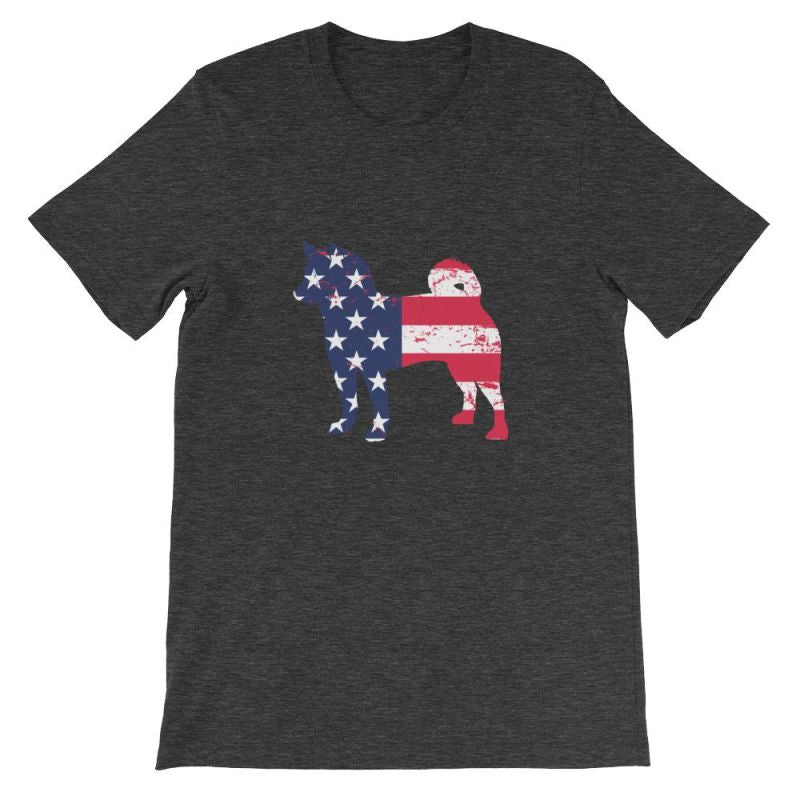 Shiba Inu - Patriotic Design Short-Sleeve Unisex T-Shirt Dark Grey Heather / S