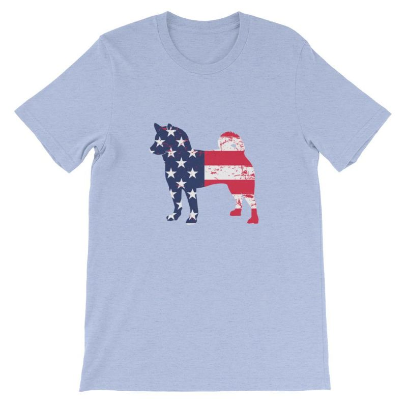 Shiba Inu - Patriotic Design Short-Sleeve Unisex T-Shirt Heather Blue / S