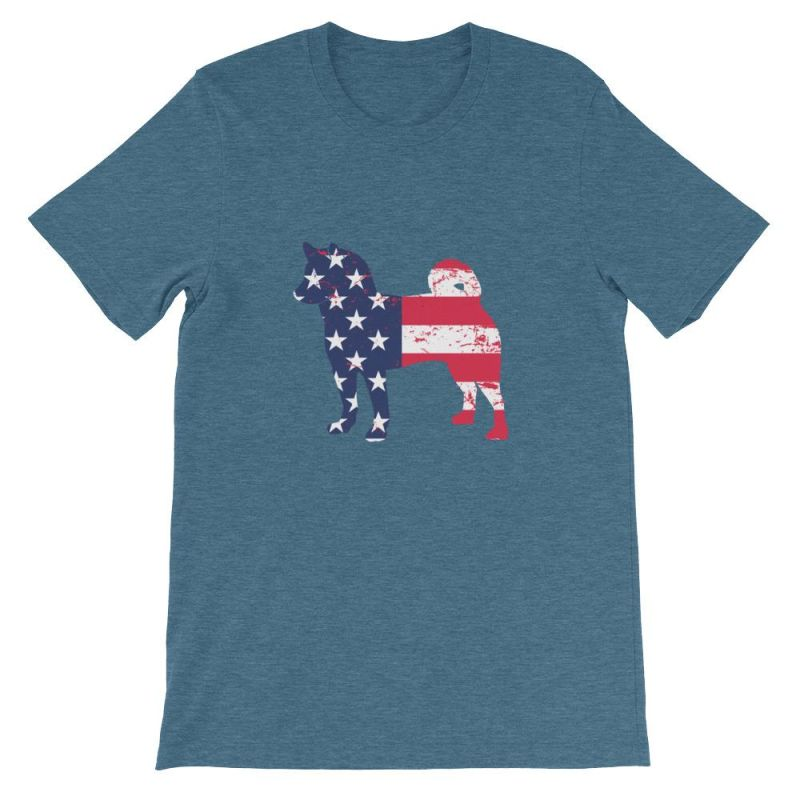 Shiba Inu - Patriotic Design Short-Sleeve Unisex T-Shirt Heather Deep Teal / S