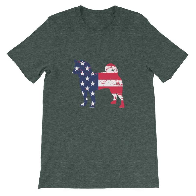 Shiba Inu - Patriotic Design Short-Sleeve Unisex T-Shirt Heather Forest / S