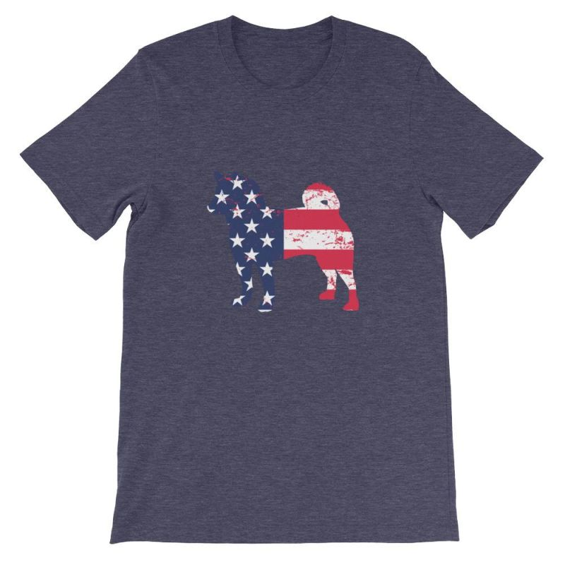 Shiba Inu - Patriotic Design Short-Sleeve Unisex T-Shirt Heather Midnight Navy / S