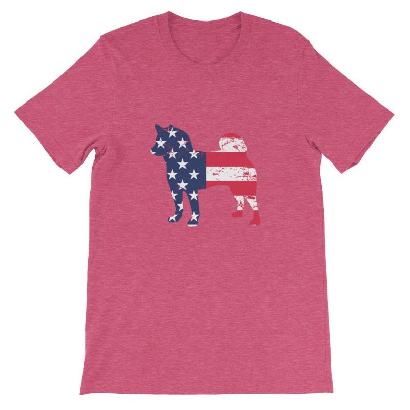 Shiba Inu - Patriotic Design Short-Sleeve Unisex T-Shirt Heather Raspberry / S