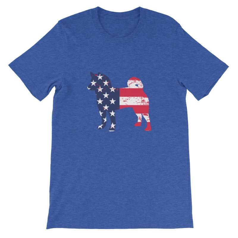 Shiba Inu - Patriotic Design Short-Sleeve Unisex T-Shirt Heather True Royal / S
