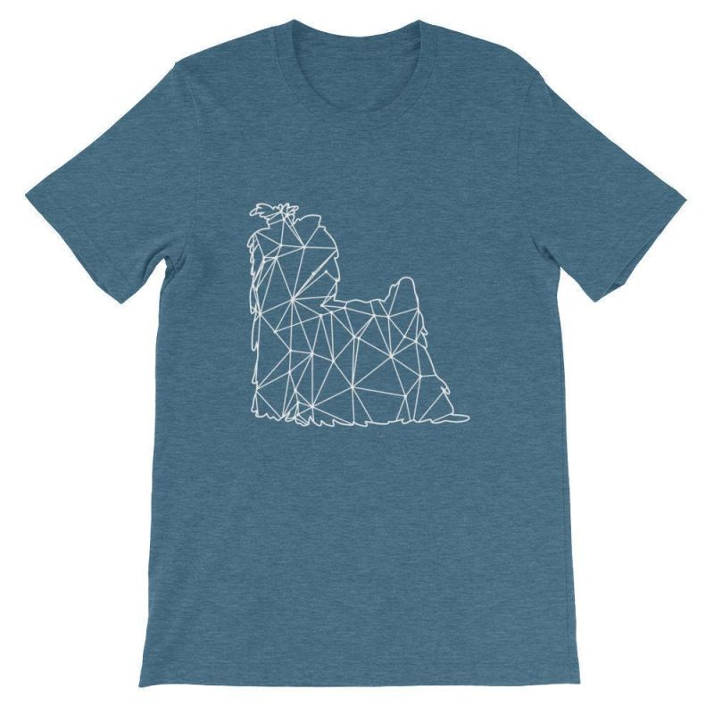 Shih Tzu Geometric Design - Unisex Short Sleeve T-Shirt Heather Deep Teal / S