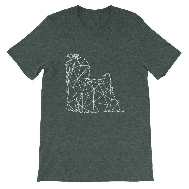 Shih Tzu Geometric Design - Unisex Short Sleeve T-Shirt Heather Forest / S