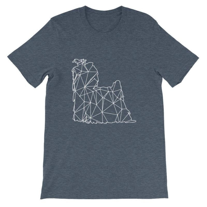 Shih Tzu Geometric Design - Unisex Short Sleeve T-Shirt Heather Navy / S