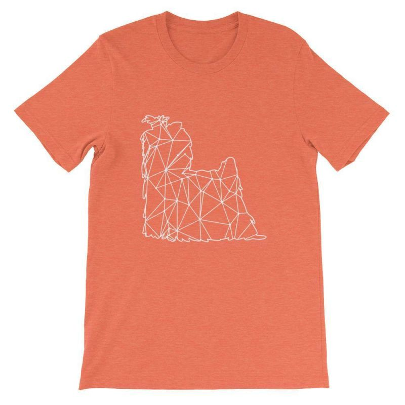 Shih Tzu Geometric Design - Unisex Short Sleeve T-Shirt Heather Orange / S