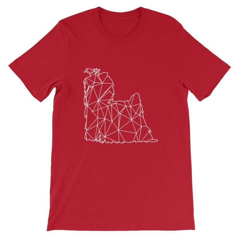 Shih Tzu Geometric Design - Unisex Short Sleeve T-Shirt Red / S