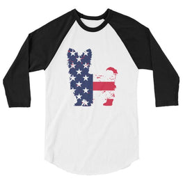 Yorkie Patriotic Design - Baseball Shirt White/black / Xs