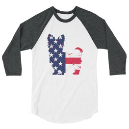 Yorkie Patriotic Design - Baseball Shirt White/heather Charcoal / Xs