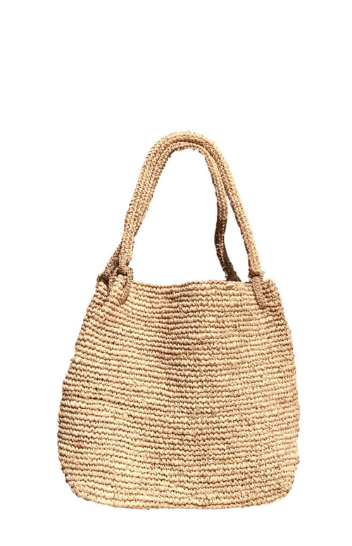 Violet Raffia Beach Bag