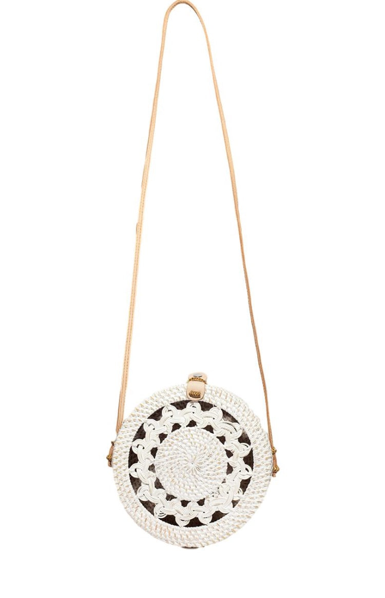 Classic Pattern White Basket Bag