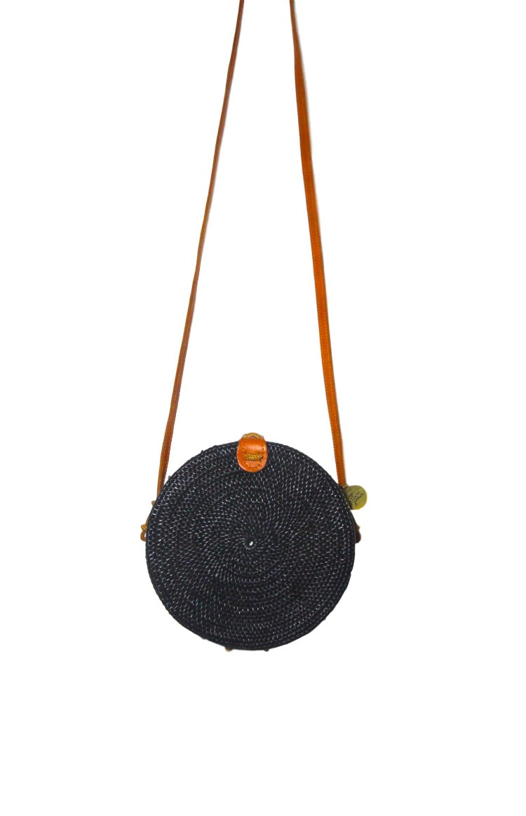 Round Black/Tan Basket Bag
