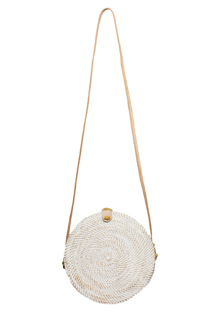 Round White Wash Basket Bag