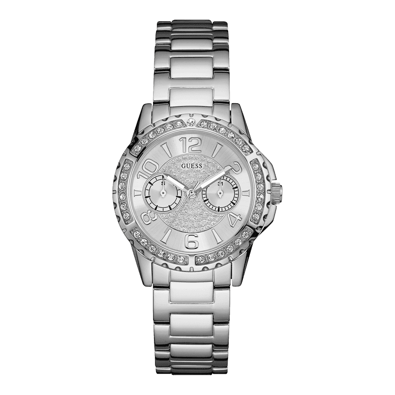 Ladies Guess Silver Tone Shimmer Sport Watch