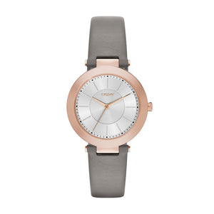 Womens DKNY Stanhope Grey Leather Strap Watch