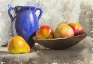 Blue Vase with Fruit Digital Painting